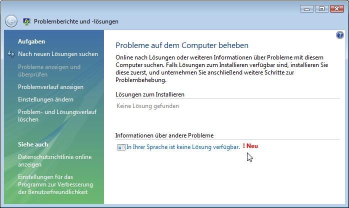 """""""In Ihrer Sprache ist keine Lösung verfügbar. NEU!"""" - What the hell...?"""