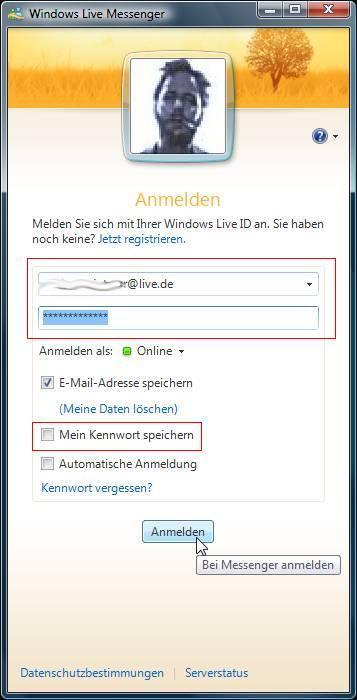 Windows Live ID / Live Mail / Hotmail: Kennwort / Passwort