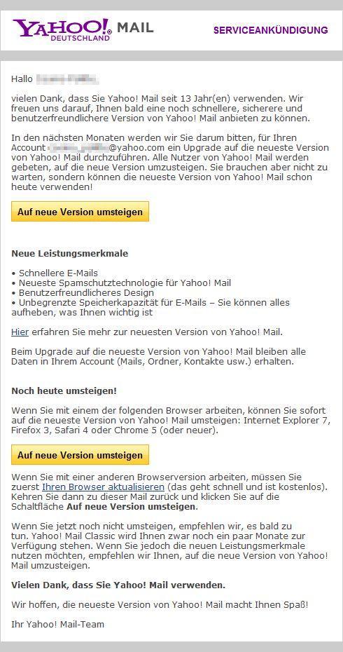 Yahoo! Mail Service-Kündigung