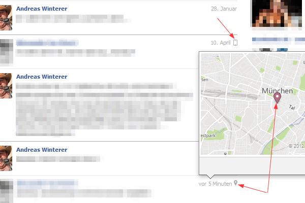 Facebook Nachricht Ort Geo Information
