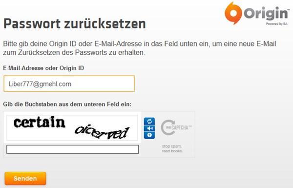 Origin-Passwort zurücksetzen