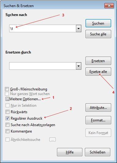 OpenOffice / LibreOffice: Tabulatoren ersetzen