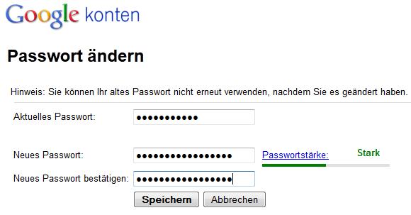 Google-Passwort ändern